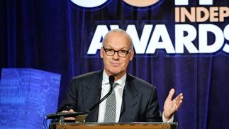 """Actor Michael Keaton accepts the """"Best Actor"""" award for his role in """"Birdman or The Unexpected Virtue of Ignorance"""" at The Independent Film Project's 24th Annual Gotham Independent Film Awards at Cipriani Wall Street on Monday in New York."""