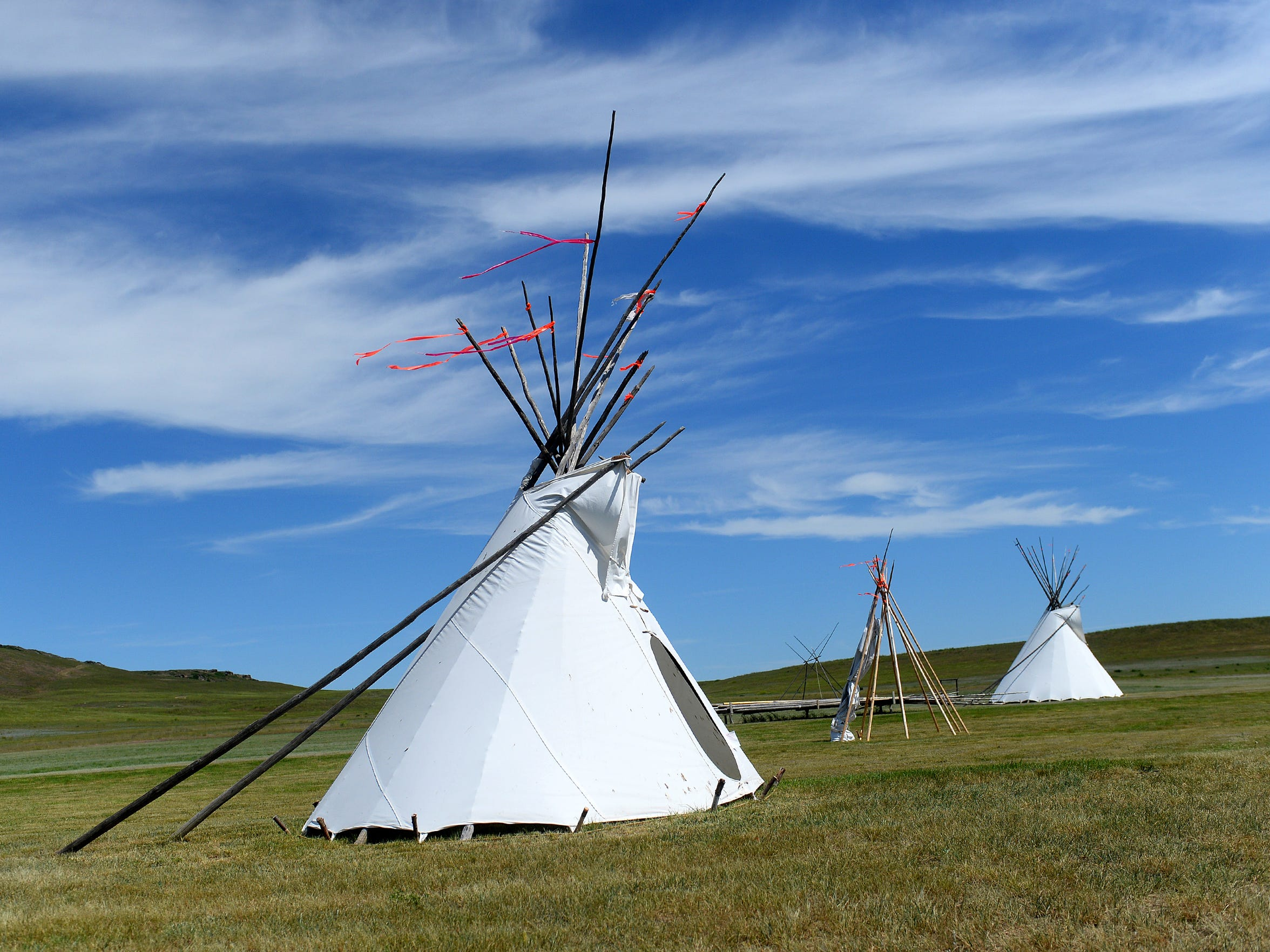 Tepees at the First Peoples Buffalo Jump State Park visitor center, June 10, 2016.