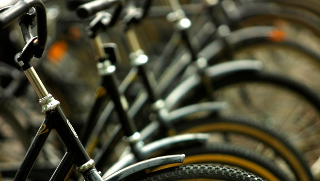 Stock image of bikes in a row.