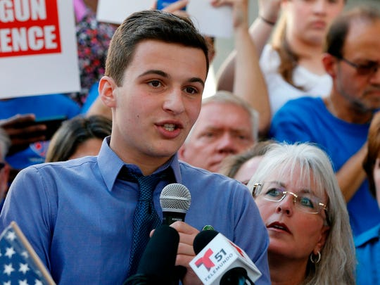 Marjory Stoneman Douglas High School student Cameron Kasky speaks at a rally for gun control at the Broward County Federal Courthouse in Fort Lauderdale. March for Our Lives rallies will take place across the country on March 24.