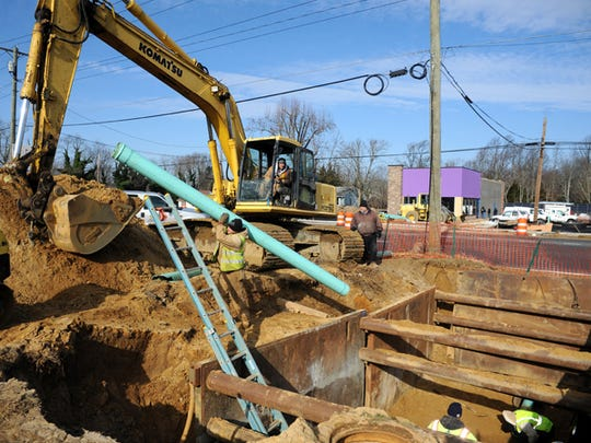 Crews work on a sewer project in Vineland in this 2013 file photo.