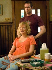 """Martha Plimpton and Garret Dillahunt are shown in a scene from """"Raising Hope."""""""