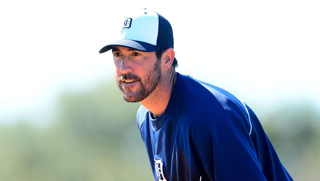 Justin Verlander throws a bullpen session today at camp.
