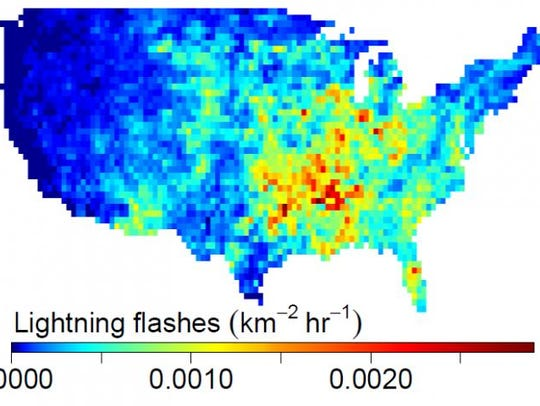 The intensity of lightning flashes averaged over the