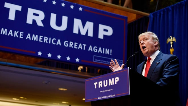 Donald Trump announces his candidacy for the Republican presidential nomination on June 16, 2015, in New York.