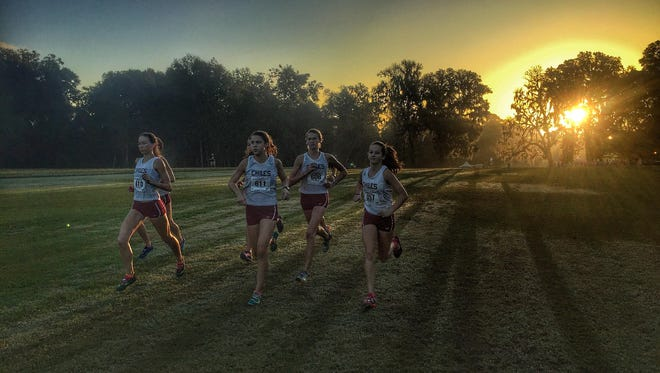The Chiles girls cross country team claimed a 3A state championship on Saturday at Apalachee Regional Park, easily beating runner-up Nicevile. Senior Emma Tucker took third overall.