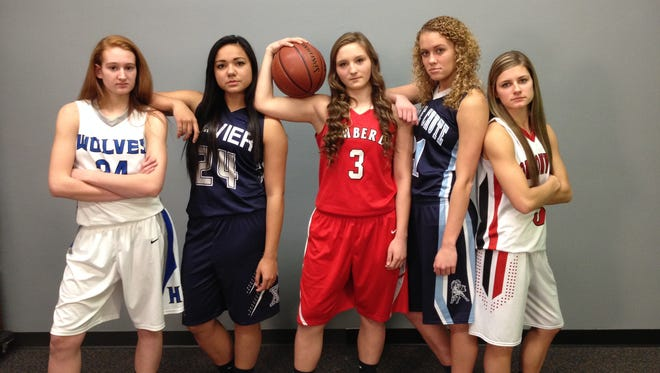 The Post-Crescent's Fab 5 preseason girls' basketball team consists of (from left) Erica Gehl, Peyton Ufi, Frankie Wurtz, Abbie Botz and Maddie Dunathan.