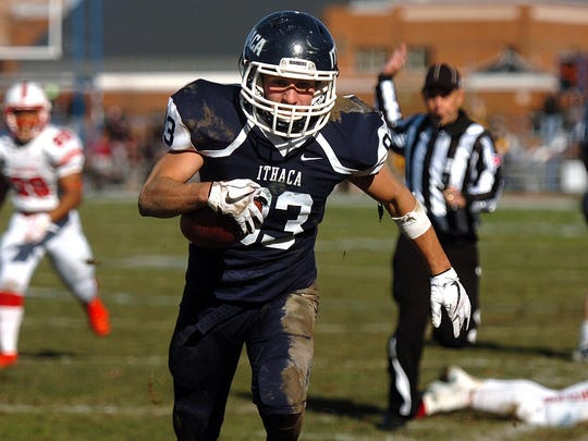 "The 59th annual Cortaca Jug, known as the ""biggest little game in the nation,"" held on Saturday, November 11, 2017, at Butterfield Stadium in Ithaca. Ithaca College defeated SUNY Cortland with score of 48-20."