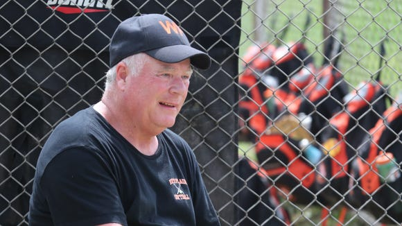 White Plains softball coach Ted O'Donnell is pictured during their game against Saunders in Yonkers, April 29, 2017.