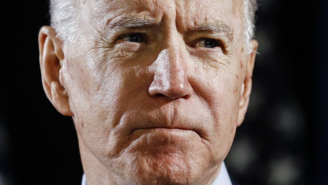 FILE - In this March 12, 2020, file photo Democratic presidential candidate former Vice President Joe Biden speaks about the coronavirus Thursday, March 12, 2020, in Wilmington, Del.