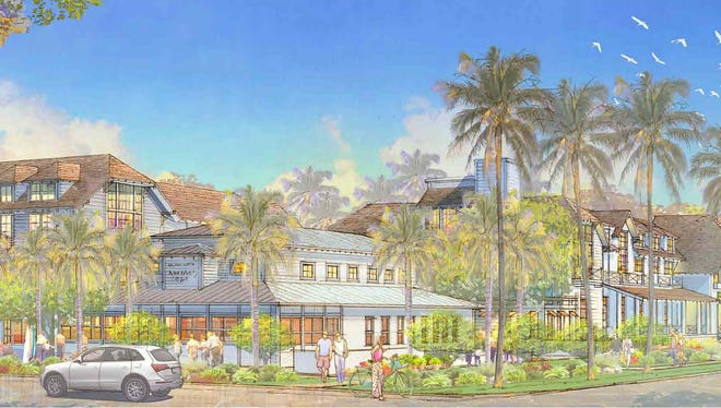 A building rendering shows a proposed three-story hotel and retail building on Third Street South and an adjacent two-story hotel along Broad Avenue South in downtown Naples.