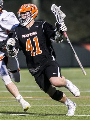 Kollin Vaught (41), seen here in action during the high school season for Central York, was a key member of the York County boys' lacrosse 10th-12th-grade team in the Keystone State Games.