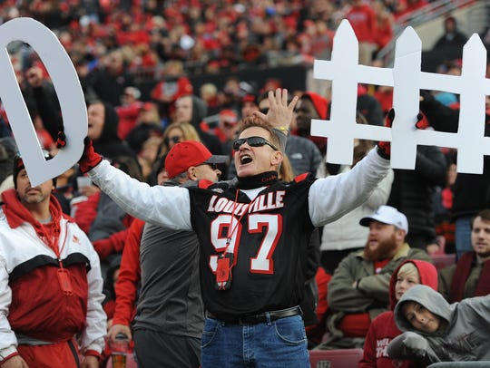 Louisville fans show their support for the Cardinals