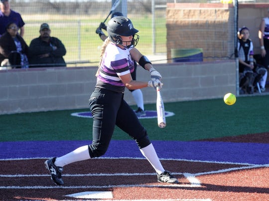 Wyllie center fielder Lilly New (16) makes contact
