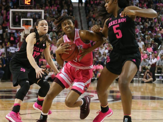 Mississippi State's Jazzmun Holmes (10) drives to the