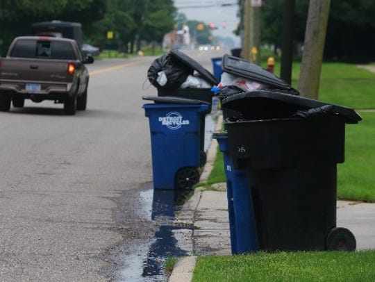 Trash and recycle cans line the street for pick-up