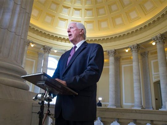 Rep. Mike Thompson, D-Calif., chairman of the House Democratic Gun Violence Prevention Task Force, takes questions during a network TV interview on Capitol Hill in Washington, Tuesday, Jan. 5, 2016, after returning from the White House where President Barack Obama unveiled his plan to tighten control and enforcement of firearms in the U.S. by using his executive powers and bypassing Congress.