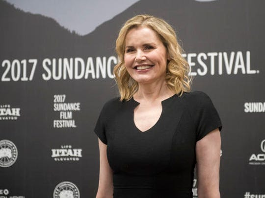 Actress Geena Davis poses at the premiere of the film