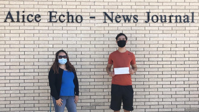 AENJ's editor Melissa Cantu Trevino presented Jesaiah Torres with the Teen of the Week Scholarship on behalf of the newspaper and Alice Chevrolet.