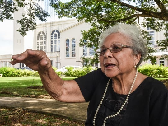 Cleotilde Bamba, 84, recalls memories of hearing the noise made by invading propellor-powered Japanese aircrafts as she and others attended their First Holy Communion at the church in Hagåtña back in December 1941. During an interview at the Plaza de Espana on Wednesday, Dec. 7, 2016, she recalled her life as a nine-year-old girl and being rushed from the Hagåtña area by her father to escape the aerial invasion of the Japanese Imperial Force.