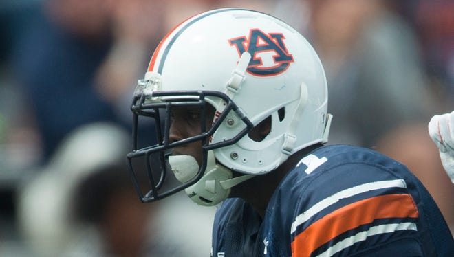 Auburn wide receiver D'haquille Williams celebrates with Auburn wide receiver Ricardo Louis after scoring a touchdown during the Auburn A-Day spring game on Saturday, April 18, 2015, at Jordan-Hare Stadium in Auburn, Ala.