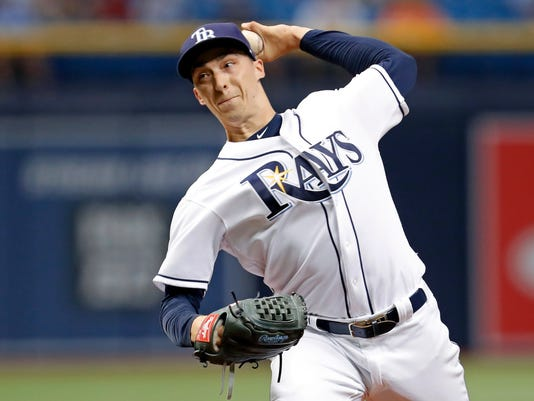 Tampa Bay Rays starting pitcher Blake Snell throws during the first inning of a baseball game against the Baltimore Orioles, Monday, July 24, 2017, in St. Petersburg, Fla. (AP Photo/Mike Carlson)