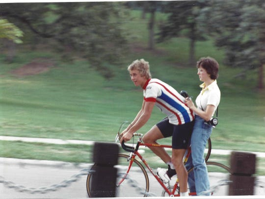 Greg LeMond takes wife Kathy for a ride.