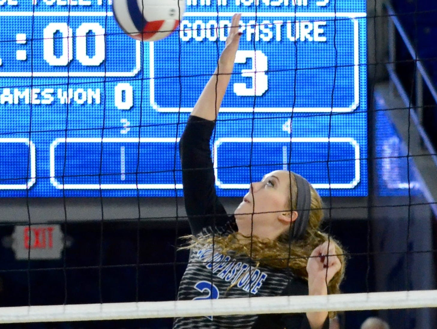 Goodpasture's Jennifer Rochelle attempts a kill during Friday's Class A championship match against South Greene.
