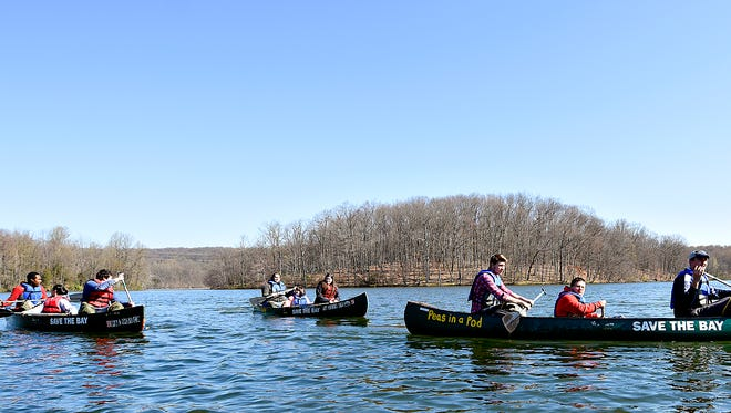 Eastern High School students take part in Chesapeake Bay Foundation's Sesquehanna Watershed Education Program at Muddy Run Reservoir in Holtwood, Thursday, April 14, 2016. Dawn J. Sagert photo