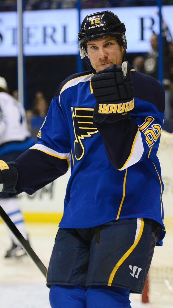St. Louis Blues center Derek Roy (12) reacts to the goal scored by St. Louis Blues left wing Brenden Morrow (not pictured) against the Winnipeg Jets during a 2014 game.