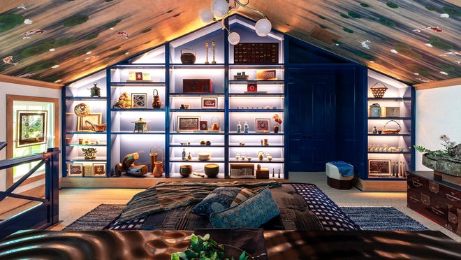 In the newly opened Kips Bay Decorator Show House Palm Beach in West Palm Beach, New York City designer Sara Magness' Japanese-inspired master study features a wall of blue-lacquered shelves, a central day bed and a ceiling covered in a custom Gracie wallpaper depicting a koi pond.