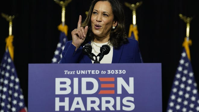 Democratic presidential candidate former Vice President Joe Biden's running mate Sen. Kamala Harris, D-Calif., speaks during a campaign event at Alexis Dupont High School in Wilmington, Del., Wednesday, Aug. 12, 2020. (AP Photo/Carolyn Kaster)