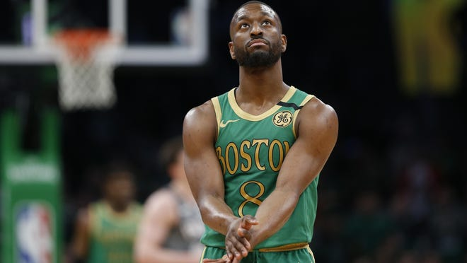 """The Celtics' Kemba Walker says about playing postseason games in Boston, """"I just know it's one of the greatest atmospheres during the playoffs."""""""