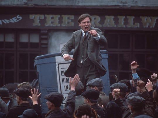 "Liam Neeson in a scene from ""Michael Collins"" (1996)."