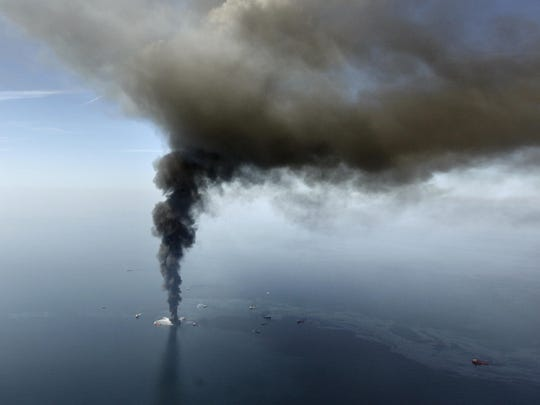 This aerial April 21, 2010 file photo, taken in the Gulf of Mexico, more than 50 miles southeast of Venice on Louisiana's tip, shows an oil slick caused by the Deepwater Horizon oil. A failed blowout preventer that was 9 years old broke down and an estimated 172 million gallons of oil spewed into the Gulf for 87 days. Gerald Herbert/AP FILE