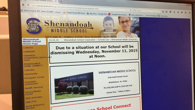Shenandoah Middle School's website tells parents that classes were canceled today after a 17-year-old male student was found hanged in a locker room at the school.