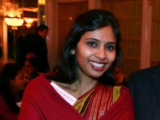 """This Dec. 8, 2013 photo shows Devyani Khobragade, India's deputy consul general, during the India Studies Stony Brook University fund raiser event at Long Island, New York. The Indian diplomat said U.S. authorities subjected her to a strip search, cavity search and DNA swabbing following her arrest on visa charges in New York City, despite her """"incessant assertions of immunity."""" The case has sparked widespread outrage in India and infuriated the government, which revoked privileges for U.S. diplomats to protest her treatment. (AP Photo/Mohammed Jaffer)"""