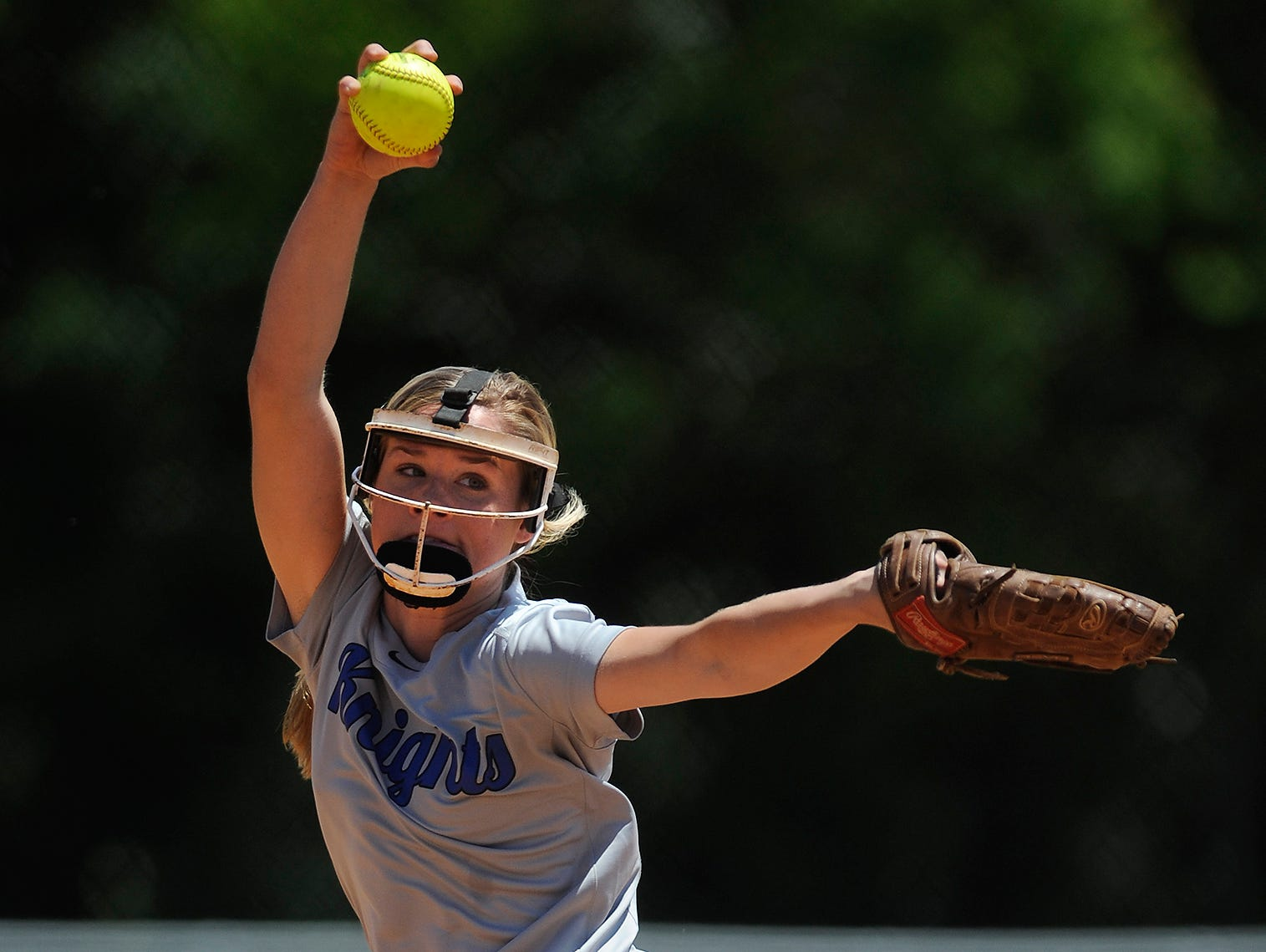 Catholic pitcher Michaelyn Foster throws against St. James at Lagoon Park in Montgomery, Ala., on Thursday April 30, 2015.
