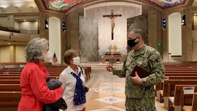 Every year on Nov.11, church and state join to honor veterans in a patriotic Mass at St. John Neumann Catholic Church in West Lake Hills. The community thanks parishioners who have served their country during a special Mass, and servicemen and women detail their contributions. From left, Jo Creath, Rose Lovell and retired Navy Reserve Cmdr. Jaime Chunda  visited afterward.