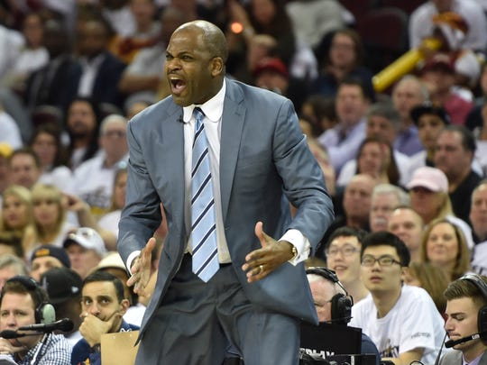 Apr 15, 2017; Cleveland, OH, USA; Indiana Pacers head coach Nate McMillan reacts in the third quarter against the Cleveland Cavaliers in game one of the first round of the 2017 NBA Playoffs at Quicken Loans Arena. Mandatory Credit: David Richard-USA TODAY Sports