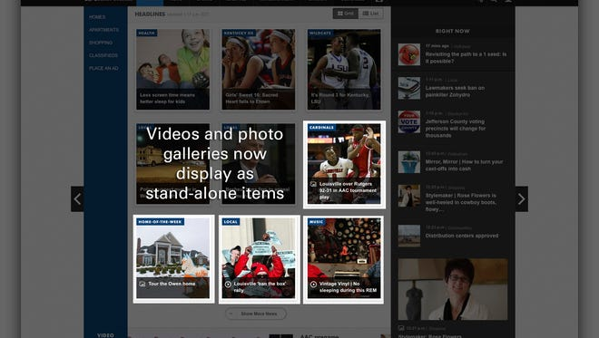 Videos and photo galleries now display as stand-alone items.