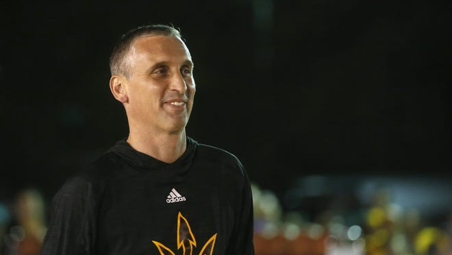ASU men's basketball coach Bobby Hurley is introduced during Mill Madness at the corner of 7th and Mill Avenue in Tempe on October 14, 2016.