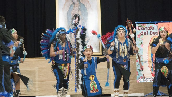 Danza Indios del Desierto dance group performed to show devotion to Our Lady of Guadalupe at Immaculate Heart of Mary Catholic Church on Dec. 2, 2017.