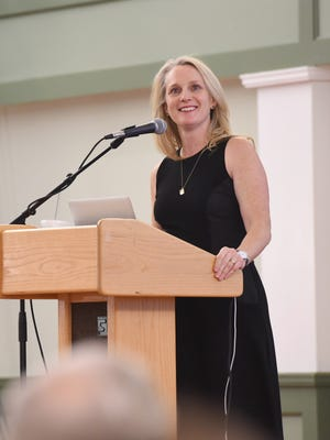Piper Kerman speaks at Vassar College on Tuesday.