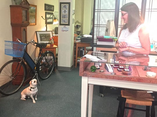 Dolores Kurjan, owner of Vintage Jewelers on College Street, with her dog Remy, a pug-chihuahua mix, the store's mascot.