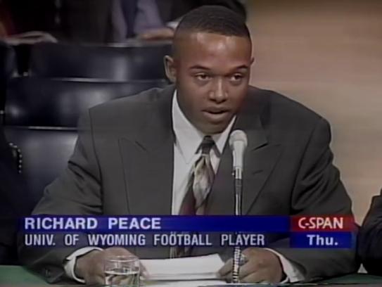 Wyoming football player Richard Peace testifies before