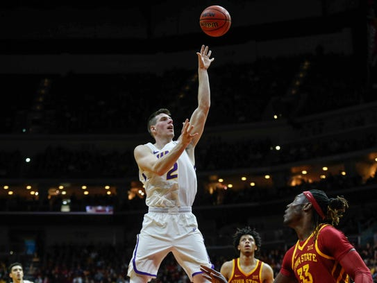 Northern Iowa senior Klint Carlson fires a shot against