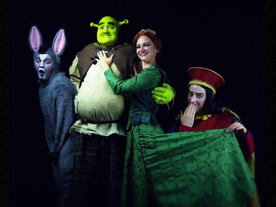"Scott Woofter, Seth Kislek, Haley Roberts and Chris Martin in ""Shrek"" at The Wayne Theatre in 2017."