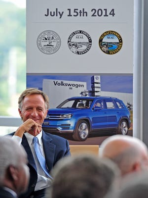 Gov. Bill Haslam at a 2014 press conference discussing an expansion of the Volkswagen Chattanooga plant. In 2013 the state offered Volkswagen about $300 million in grants and tax credits.