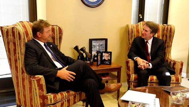 U.S. Sen. Dean Heller, R-Nev., meets with U.S. Supreme Court nominee Brett Kavanaugh on Thursday, July 19, 2018.